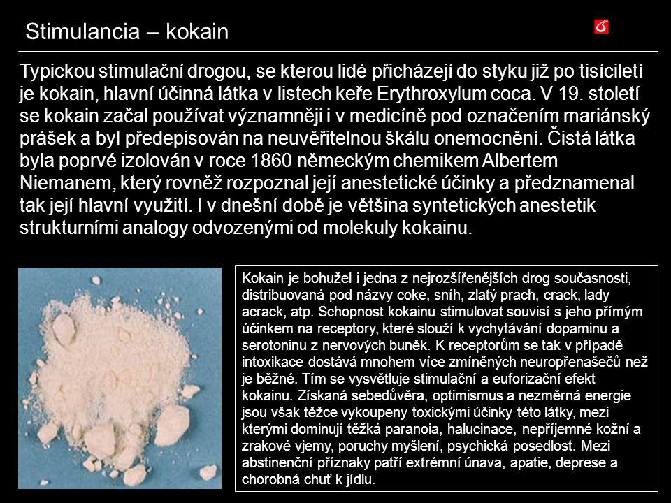Stimulancia – kokain Typickou stimulační drogou, se kterou lidé přicházejí do styku již po tisíciletí je kokain, hlavní účinná látka v listech keře Er
