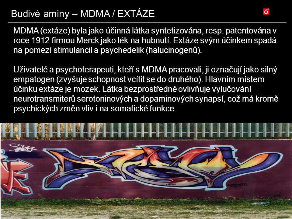 Budivé aminy – MDMA / EXTÁZE MDMA (extáze) byla jako účinná látka syntetizována, resp. patentována v roce 1912 firmou Merck jako lék na hubnutí. Extáz