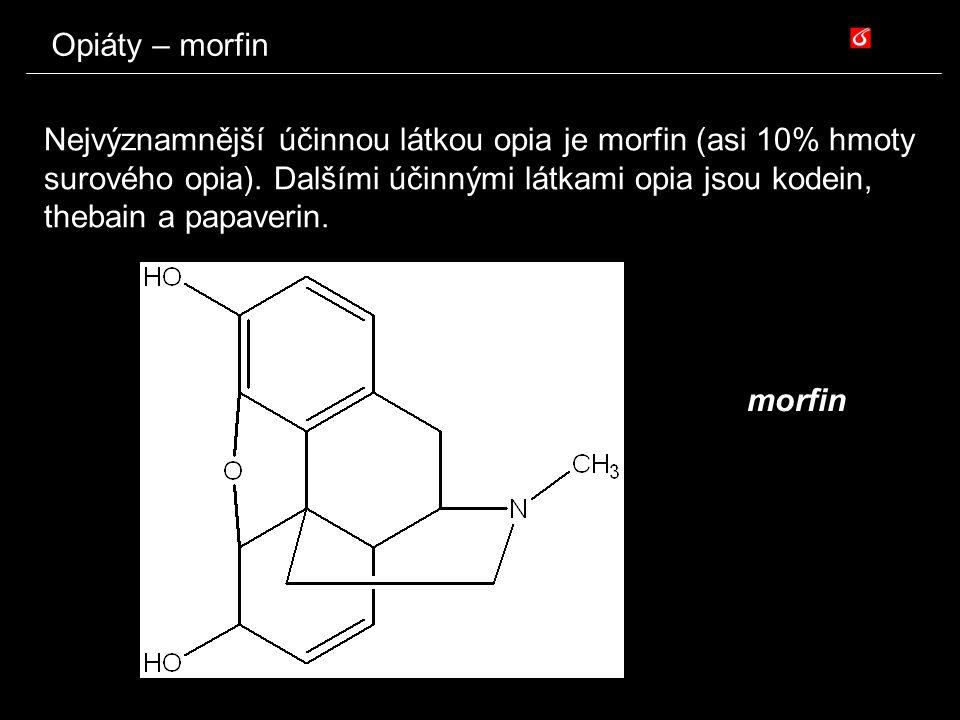 Opiáty – morfin Nejvýznamnější účinnou látkou opia je morfin (asi 10% hmoty surového opia). Dalšími účinnými látkami opia jsou kodein, thebain a papav