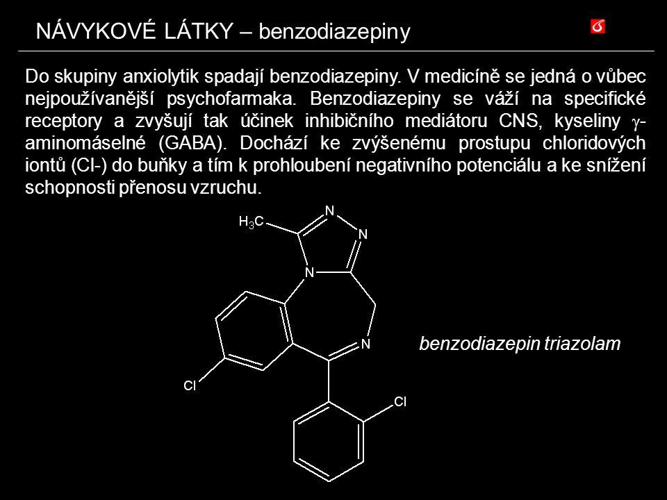 NÁVYKOVÉ LÁTKY – benzodiazepiny Do skupiny anxiolytik spadají benzodiazepiny. V medicíně se jedná o vůbec nejpoužívanější psychofarmaka. Benzodiazepin