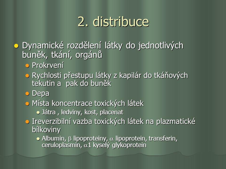2. distribuce Dynamické rozdělení látky do jednotlivých buněk, tkání, orgánů Dynamické rozdělení látky do jednotlivých buněk, tkání, orgánů Prokrvení