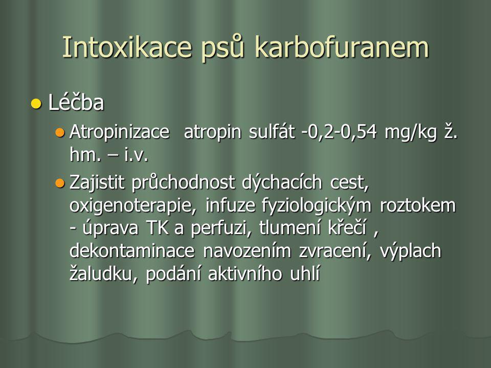 Intoxikace psů karbofuranem Léčba Léčba Atropinizace atropin sulfát -0,2-0,54 mg/kg ž. hm. – i.v. Atropinizace atropin sulfát -0,2-0,54 mg/kg ž. hm. –
