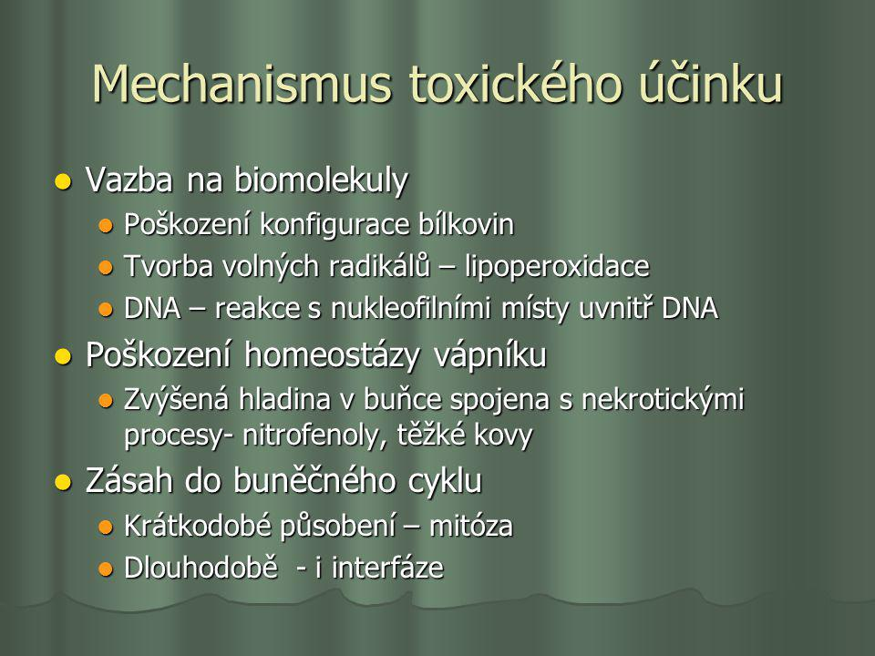 Mechanismus toxického účinku Vazba na biomolekuly Vazba na biomolekuly Poškození konfigurace bílkovin Poškození konfigurace bílkovin Tvorba volných ra