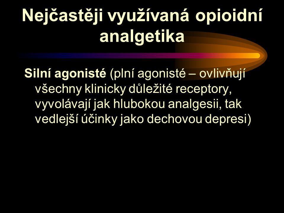 Nejčastěji využívaná opioidní analgetika Silní agonisté (plní agonisté – ovlivňují všechny klinicky důležité receptory, vyvolávají jak hlubokou analgesii, tak vedlejší účinky jako dechovou depresi)