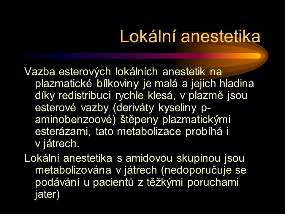 Lokální anestetika Vazba esterových lokálních anestetik na plazmatické bílkoviny je malá a jejich hladina díky redistribuci rychle klesá, v plazmě jsou esterové vazby (deriváty kyseliny p- aminobenzoové) štěpeny plazmatickými esterázami, tato metabolizace probíhá i v játrech.