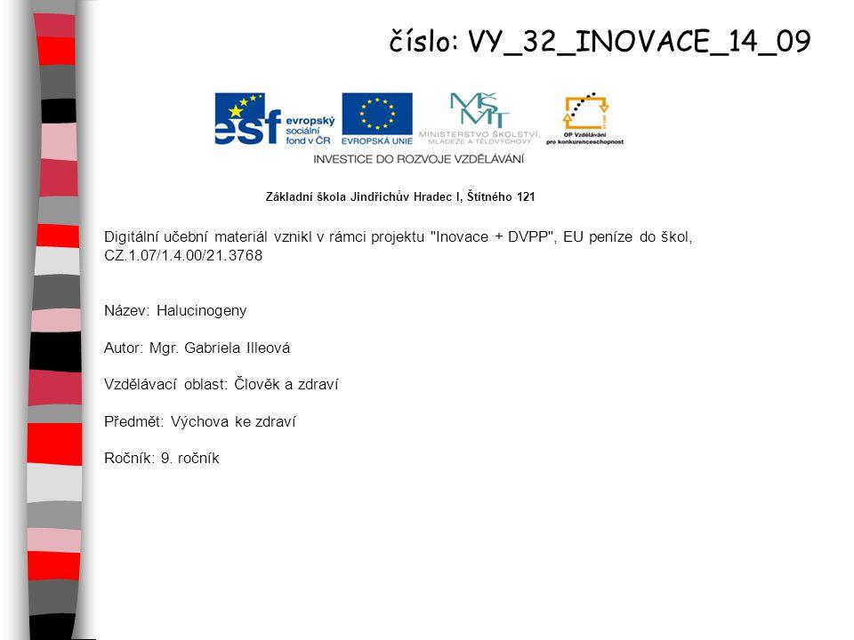 Digitální učební materiál vznikl v rámci projektu Inovace + DVPP , EU peníze do škol, CZ.1.07/1.4.00/21.3768 Název: Halucinogeny Autor: Mgr.