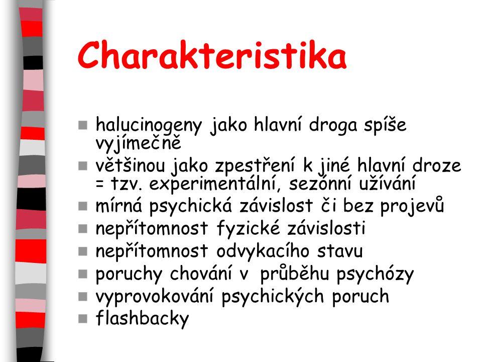 Charakteristika halucinogeny jako hlavní droga spíše vyjímečně většinou jako zpestření k jiné hlavní droze = tzv.