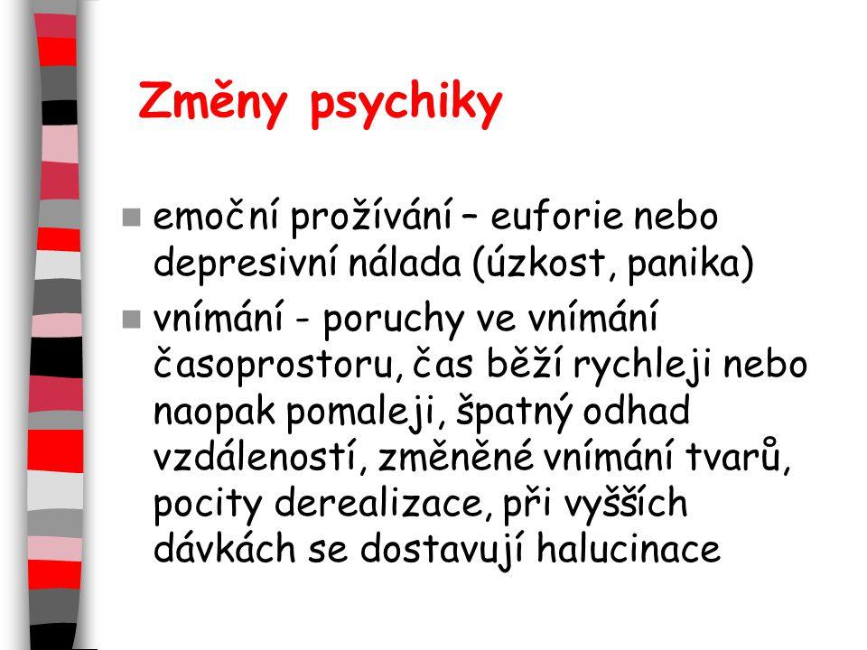 Změny psychiky emoční prožívání – euforie nebo depresivní nálada (úzkost, panika) vnímání - poruchy ve vnímání časoprostoru, čas běží rychleji nebo naopak pomaleji, špatný odhad vzdáleností, změněné vnímání tvarů, pocity derealizace, při vyšších dávkách se dostavují halucinace