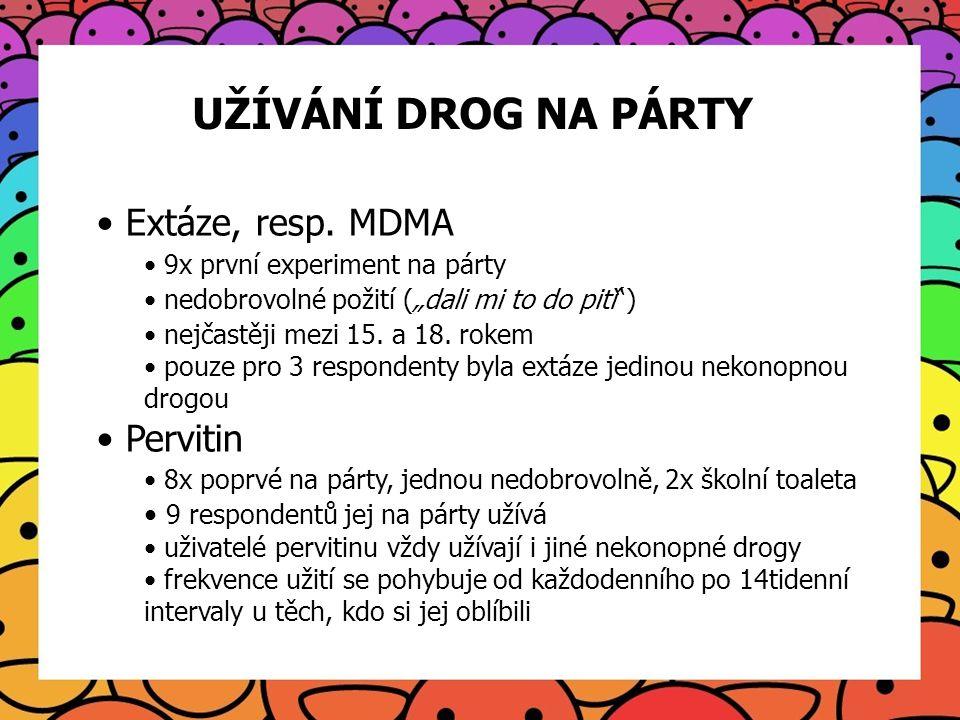 """UŽÍVÁNÍ DROG NA PÁRTY Extáze, resp. MDMA 9x první experiment na párty nedobrovolné požití (""""dali mi to do pití"""") nejčastěji mezi 15. a 18. rokem pouze"""