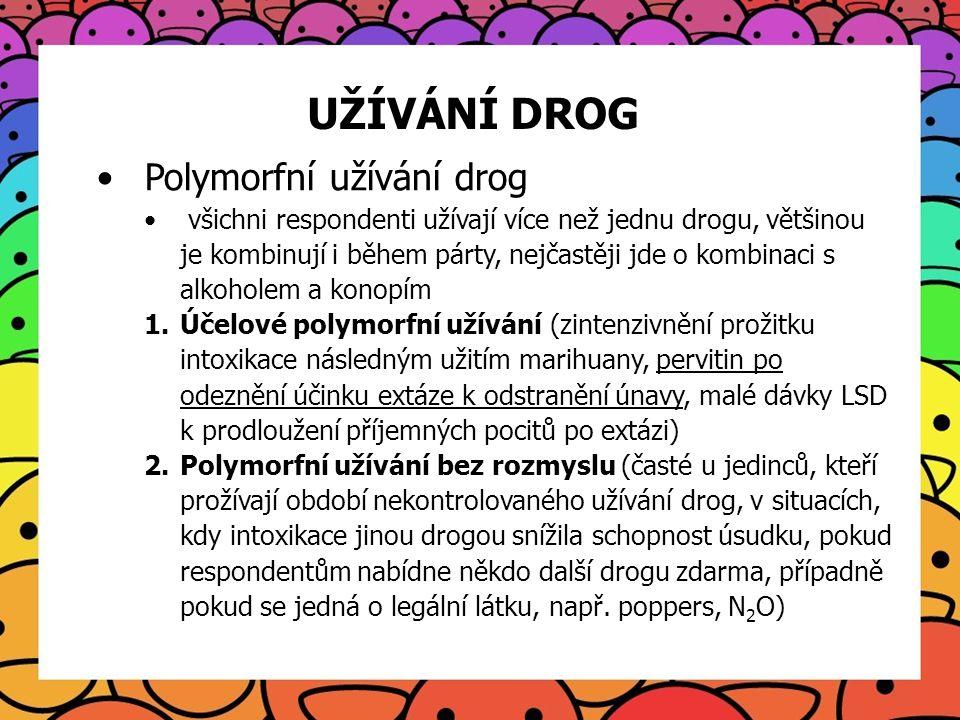 UŽÍVÁNÍ DROG Polymorfní užívání drog všichni respondenti užívají více než jednu drogu, většinou je kombinují i během párty, nejčastěji jde o kombinaci