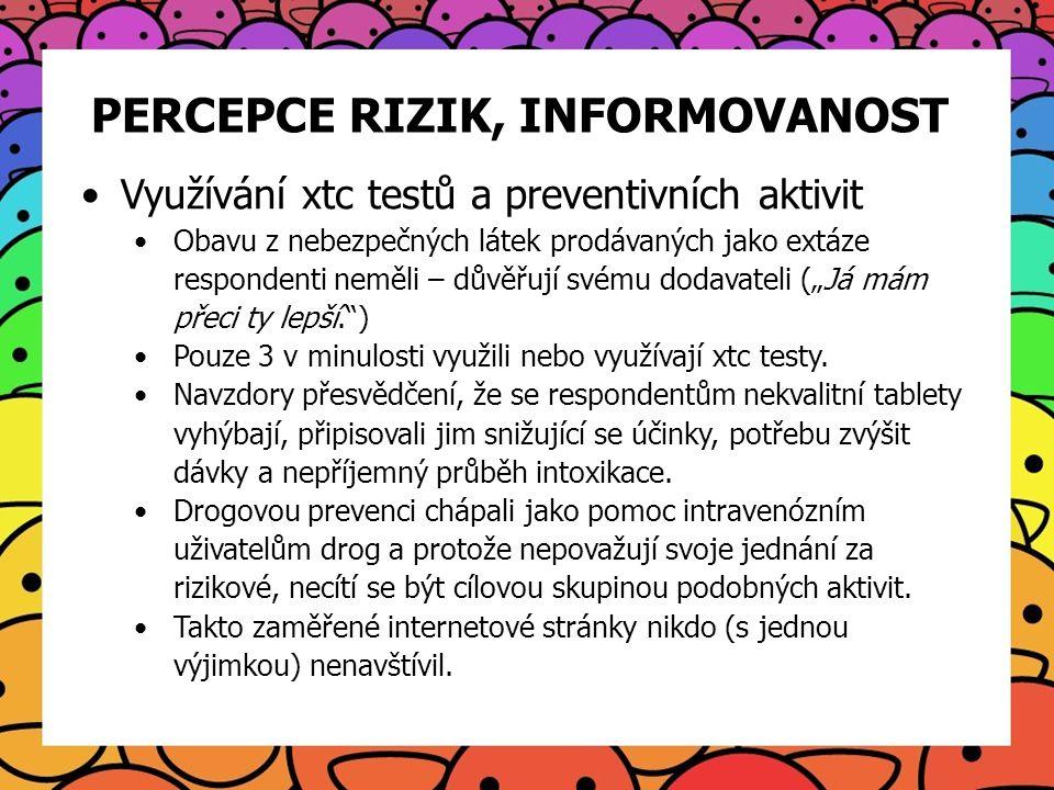 PERCEPCE RIZIK, INFORMOVANOST Využívání xtc testů a preventivních aktivit Obavu z nebezpečných látek prodávaných jako extáze respondenti neměli – důvě