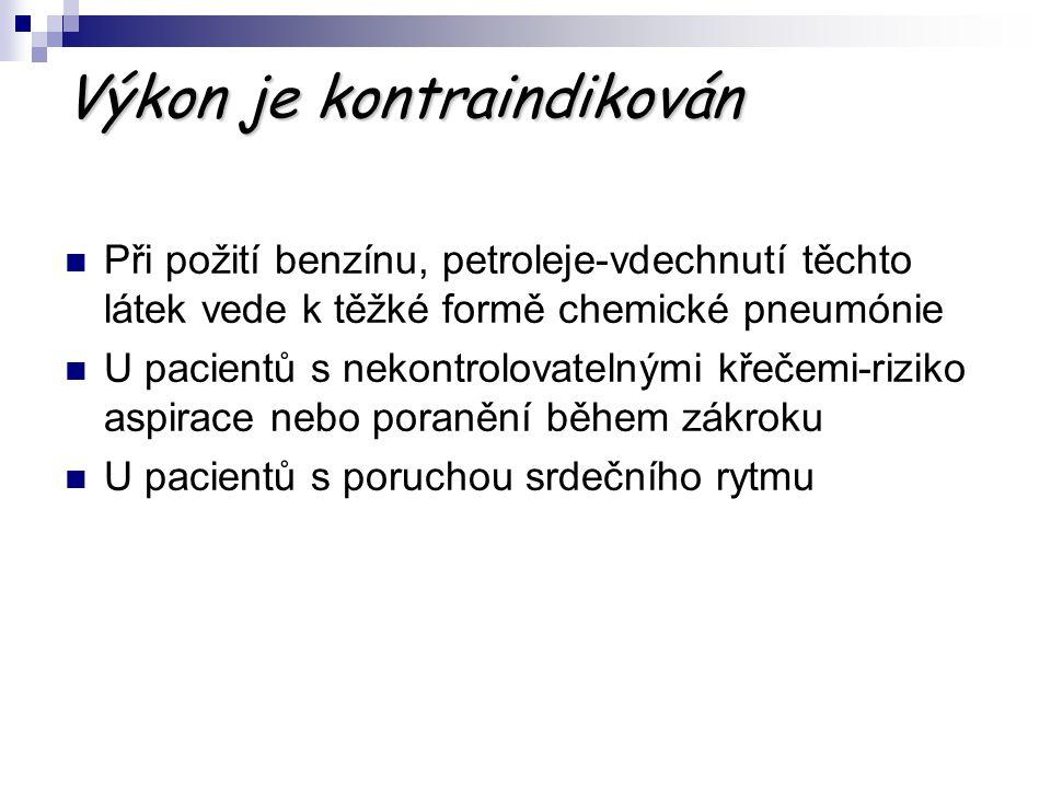Výkon je kontraindikován Při požití benzínu, petroleje-vdechnutí těchto látek vede k těžké formě chemické pneumónie U pacientů s nekontrolovatelnými k