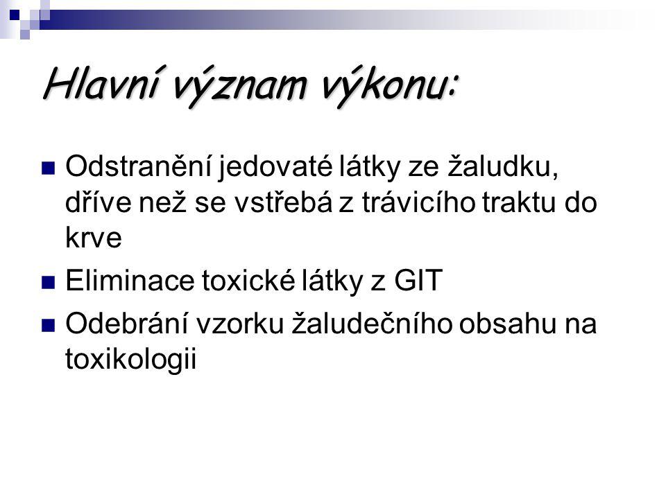 Použitá literatura: Akutní intoxikace v intenzivní medicíně, K.