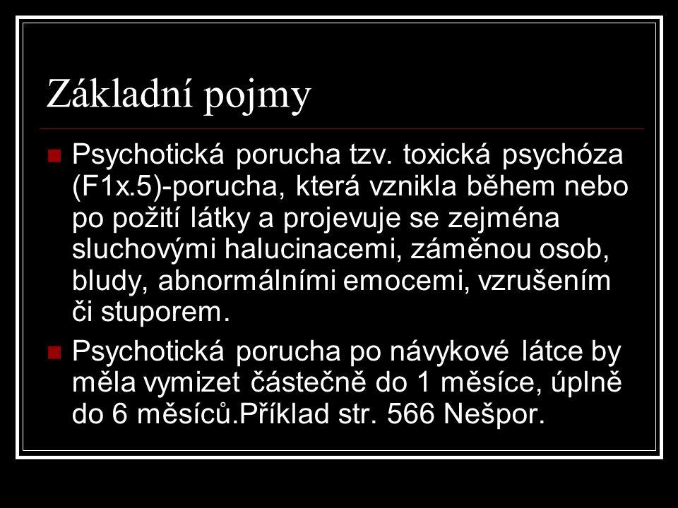 Základní pojmy Psychotická porucha tzv. toxická psychóza (F1x.5)-porucha, která vznikla během nebo po požití látky a projevuje se zejména sluchovými h
