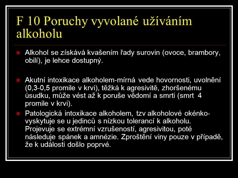 F 10 Poruchy vyvolané užíváním alkoholu Alkohol se získává kvašením řady surovin (ovoce, brambory, obilí), je lehce dostupný. Akutní intoxikace alkoho
