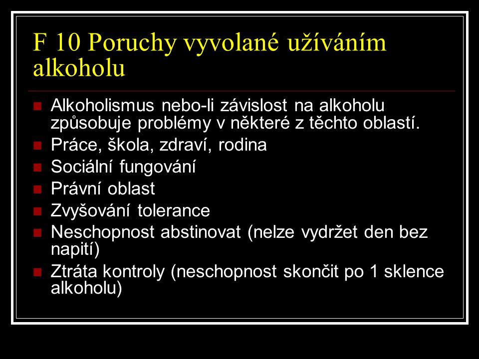 F 10 Poruchy vyvolané užíváním alkoholu Alkoholismus nebo-li závislost na alkoholu způsobuje problémy v některé z těchto oblastí. Práce, škola, zdraví