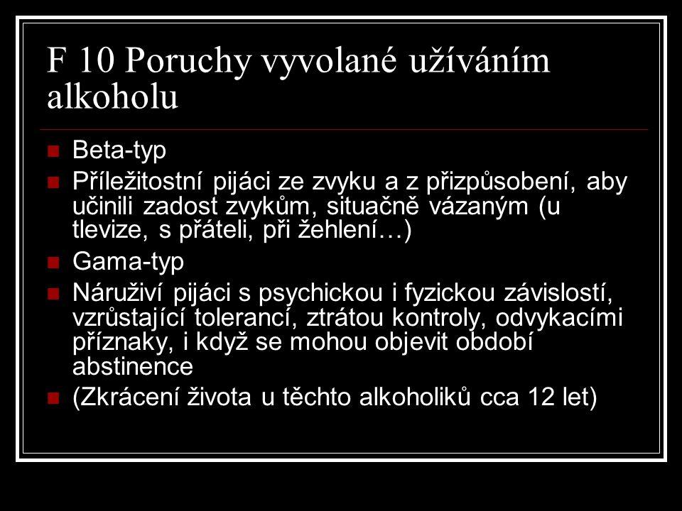 F 10 Poruchy vyvolané užíváním alkoholu Beta-typ Příležitostní pijáci ze zvyku a z přizpůsobení, aby učinili zadost zvykům, situačně vázaným (u tlevize, s přáteli, při žehlení…) Gama-typ Náruživí pijáci s psychickou i fyzickou závislostí, vzrůstající tolerancí, ztrátou kontroly, odvykacími příznaky, i když se mohou objevit období abstinence (Zkrácení života u těchto alkoholiků cca 12 let)