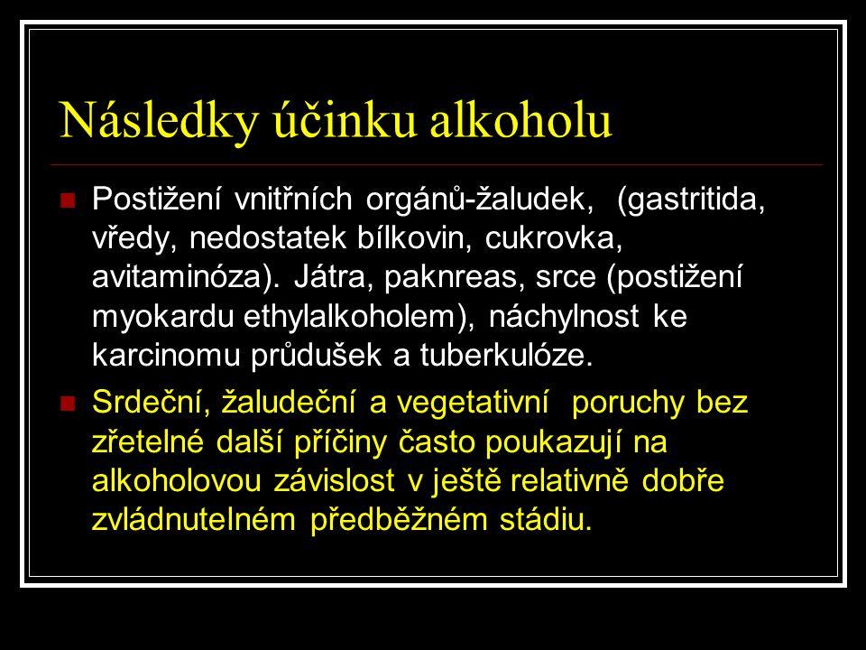 Následky účinku alkoholu Postižení vnitřních orgánů-žaludek, (gastritida, vředy, nedostatek bílkovin, cukrovka, avitaminóza). Játra, paknreas, srce (p