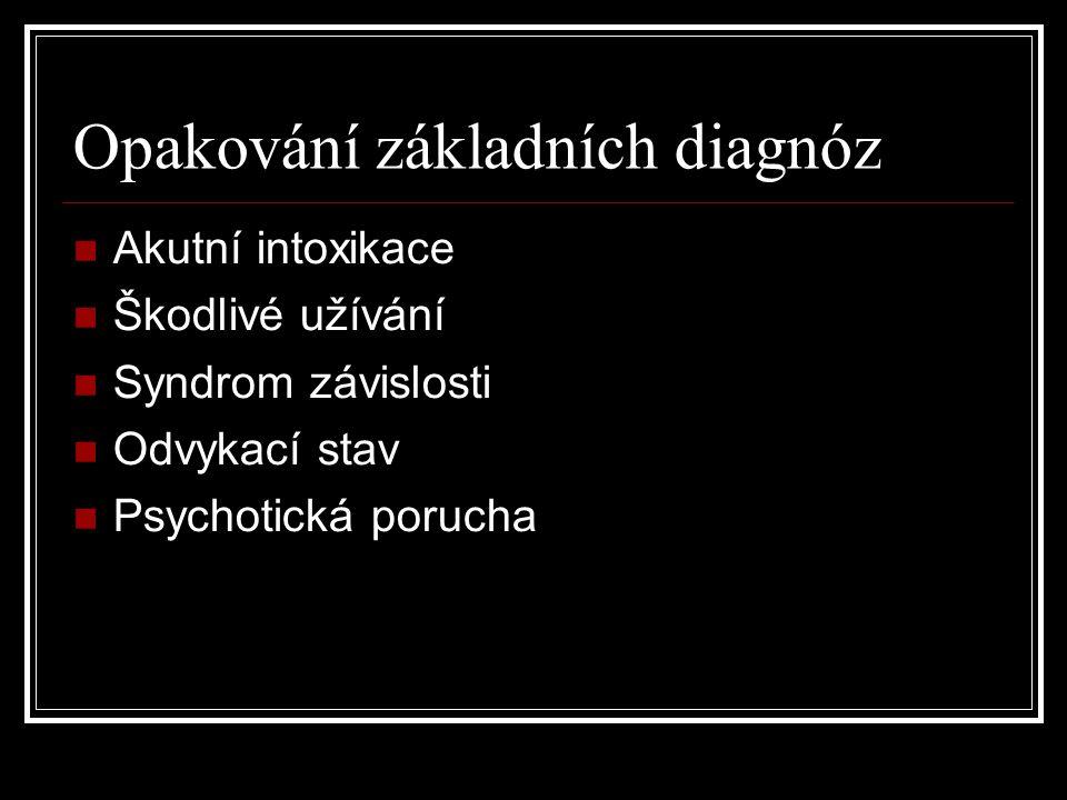 Opakování základních diagnóz Akutní intoxikace Škodlivé užívání Syndrom závislosti Odvykací stav Psychotická porucha
