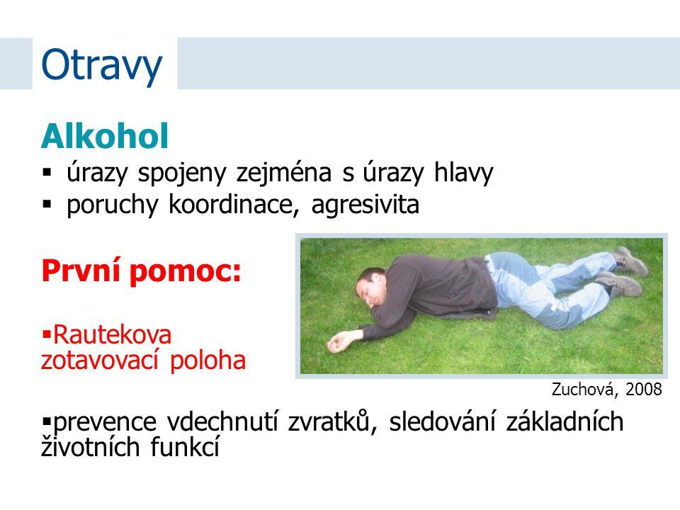 Alkohol  úrazy spojeny zejména s úrazy hlavy  poruchy koordinace, agresivita Otravy První pomoc:  Rautekova zotavovací poloha  prevence vdechnutí