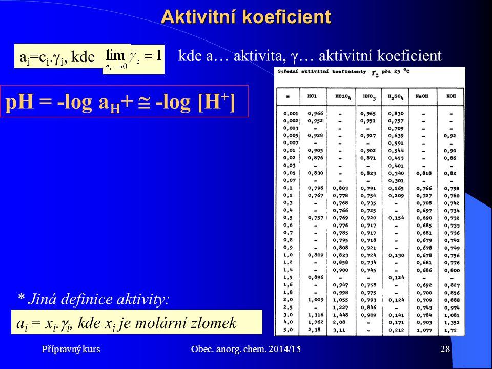 Přípravný kursObec. anorg. chem. 2014/1528 Aktivitní koeficient a i =c i.  i, kde kde a… aktivita, γ… aktivitní koeficient pH = -log a H +  -log [H