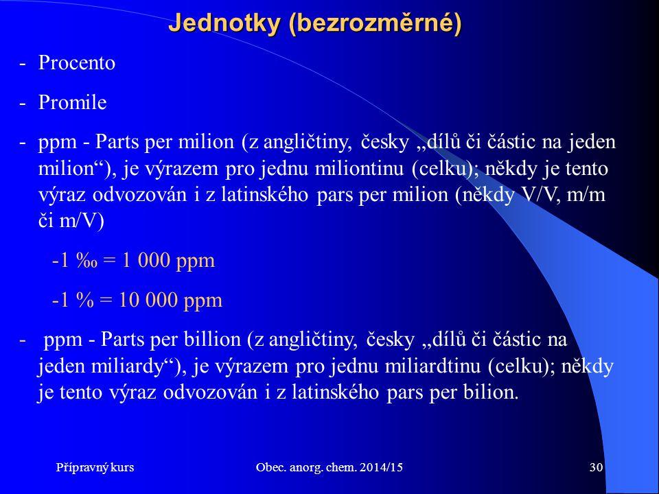 """Přípravný kursObec. anorg. chem. 2014/1530 Jednotky (bezrozměrné) -Procento -Promile -ppm - Parts per milion (z angličtiny, česky """"dílů či částic na j"""