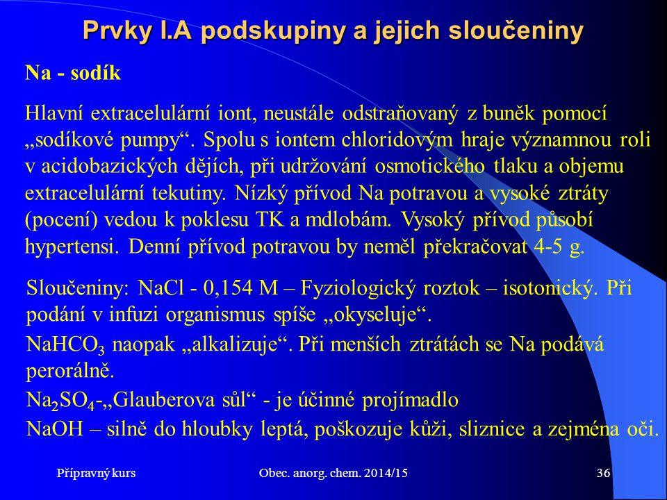 Přípravný kursObec. anorg. chem. 2014/1536 Prvky I.A podskupiny a jejich sloučeniny Na - sodík Hlavní extracelulární iont, neustále odstraňovaný z bun