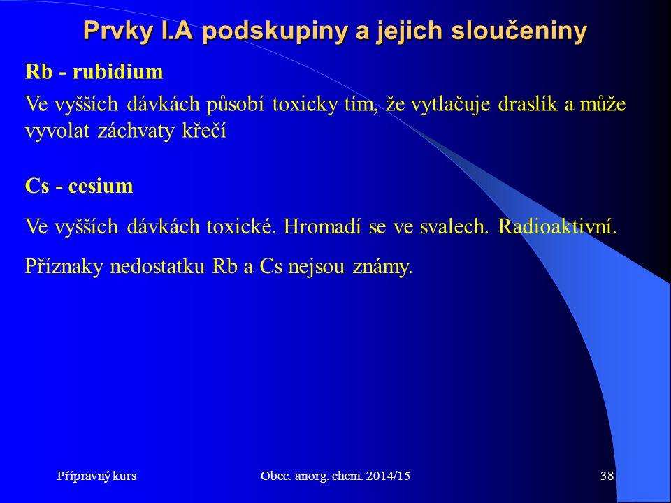 Přípravný kursObec. anorg. chem. 2014/1538 Prvky I.A podskupiny a jejich sloučeniny Rb - rubidium Ve vyšších dávkách působí toxicky tím, že vytlačuje