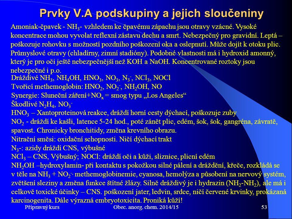 Přípravný kursObec. anorg. chem. 2014/1553 Prvky V.A podskupiny a jejich sloučeniny Dráždivé NH 3, NH 4 OH, HNO 3, NO 3, N 3 -, NCl 3, NOCl Tvořicí me