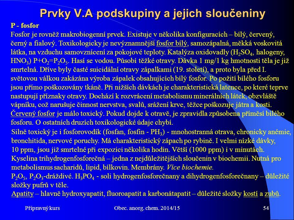 Přípravný kursObec. anorg. chem. 2014/1554 Prvky V.A podskupiny a jejich sloučeniny Silně toxický je i fosforovodík (fosfan, fosfin - PH 3 ) - mnohost