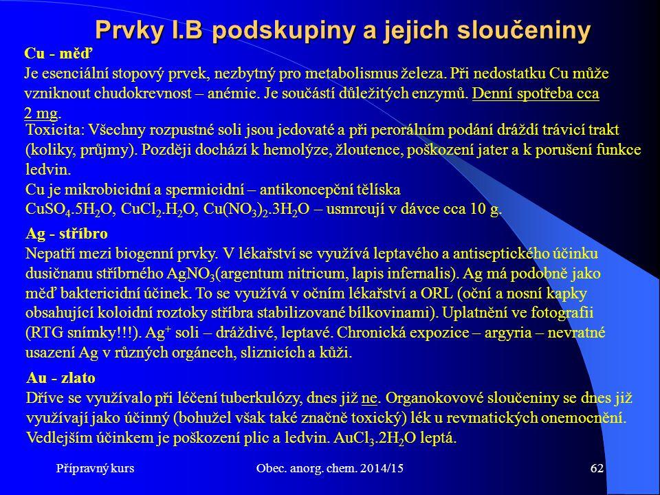 Přípravný kursObec. anorg. chem. 2014/1562 Prvky I.B podskupiny a jejich sloučeniny Toxicita: Všechny rozpustné soli jsou jedovaté a při perorálním po