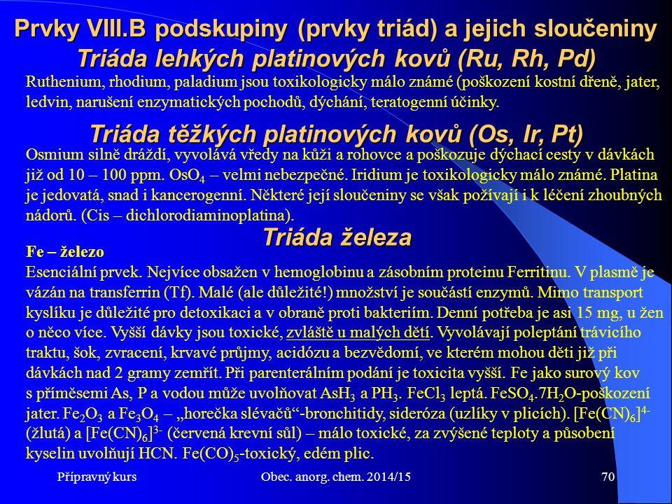 Přípravný kursObec. anorg. chem. 2014/1570 Prvky VIII.B podskupiny (prvky triád) a jejich sloučeniny Ruthenium, rhodium, paladium jsou toxikologicky m