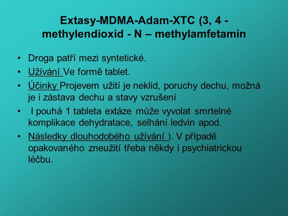 Extasy-MDMA-Adam-XTC (3, 4 - methylendioxid - N – methylamfetamin Droga patří mezi syntetické. Užívání Ve formě tablet. Účinky Projevem užití je nekli