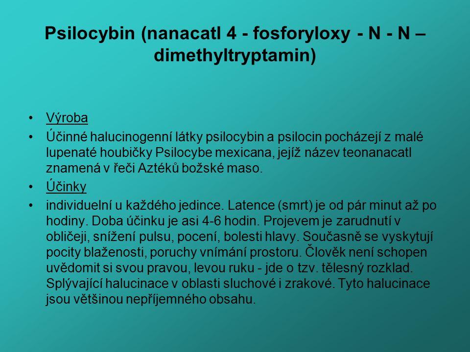 Psilocybin (nanacatl 4 - fosforyloxy - N - N – dimethyltryptamin) Výroba Účinné halucinogenní látky psilocybin a psilocin pocházejí z malé lupenaté ho
