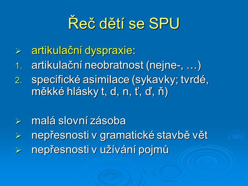 Řeč dětí se SPU  artikulační dyspraxie: 1. artikulační neobratnost (nejne-, …) 2. specifické asimilace (sykavky; tvrdé, měkké hlásky t, d, n, ť, ď, ň