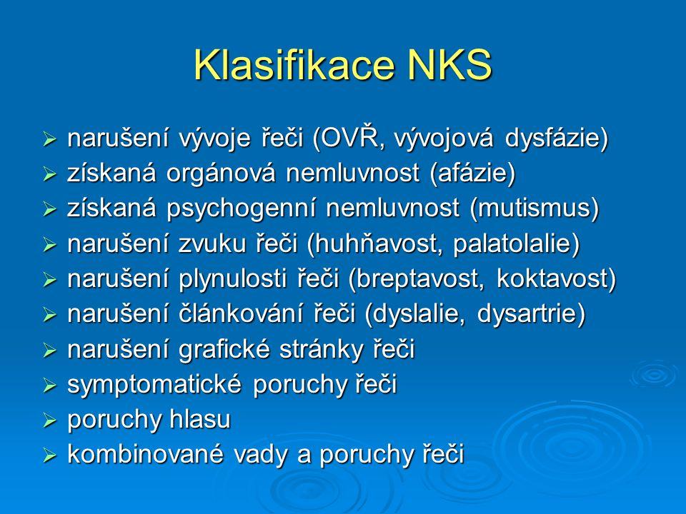 Klasifikace NKS  narušení vývoje řeči (OVŘ, vývojová dysfázie)  získaná orgánová nemluvnost (afázie)  získaná psychogenní nemluvnost (mutismus)  n