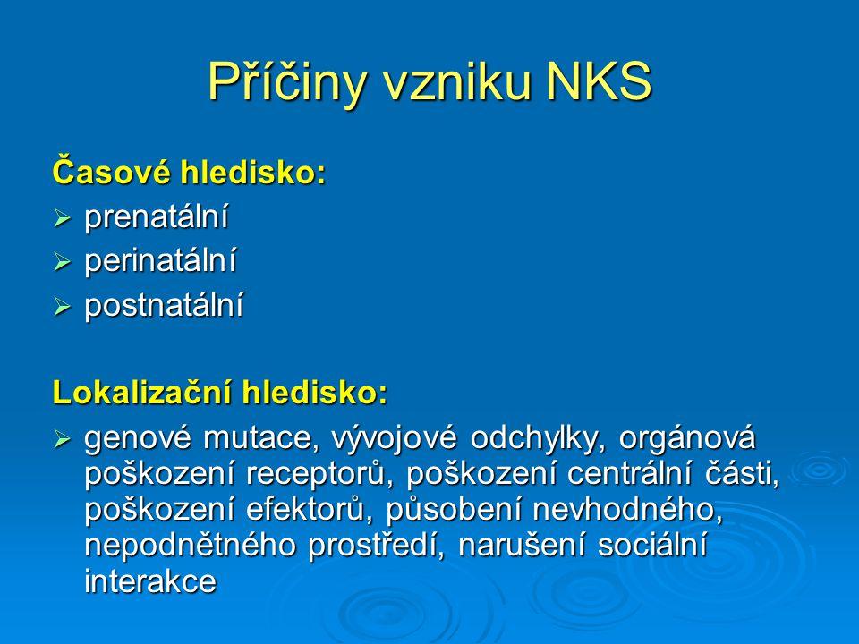 Příčiny vzniku NKS Časové hledisko:  prenatální  perinatální  postnatální Lokalizační hledisko:  genové mutace, vývojové odchylky, orgánová poškoz