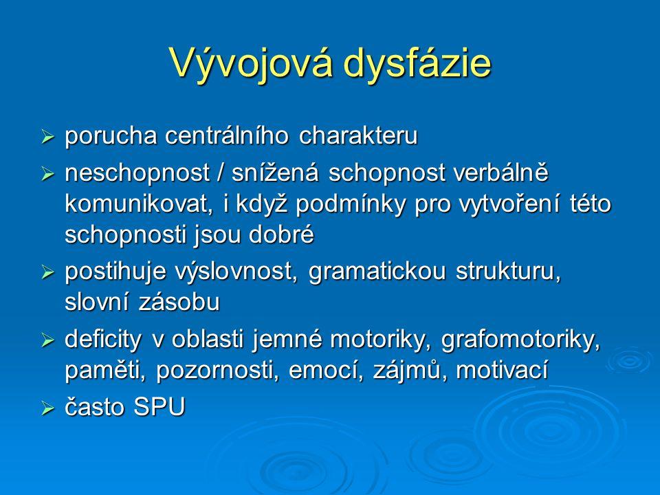 Symptomatické poruchy řeči  symptom jiného, dominantního postižení  řeč osob s DMO: dysartrie, omezený, opožděný vývoj řeči, otevřená huhňavost, narušené koverbální chování, poruchy polykání  řeč MR: opožděný, omezený, narušený vývoj (podle stupně MR): echolálie, dyslalie, huhňavost  řeč nevidomých: dyslalie, huhňavost, verbalizmus, narušené koverbální chování