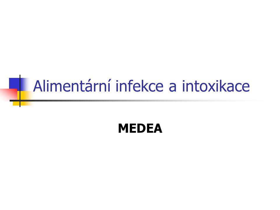 Epidemiologie Alimentární intoxikace (stafylokoková, C.difficile, B.cereus, C.perfringens typu A, botulismus Giardióza Kryptosporidióza Toxoplazmóza Toxikaróza Amébová úplavice