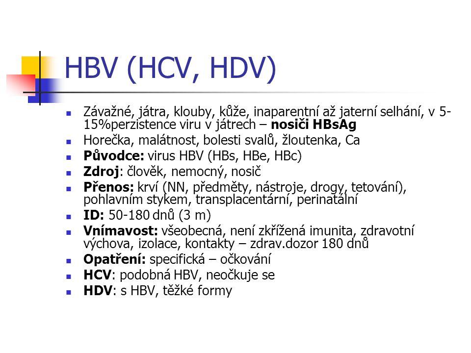 HBV (HCV, HDV) Závažné, játra, klouby, kůže, inaparentní až jaterní selhání, v 5- 15%perzistence viru v játrech – nosiči HBsAg Horečka, malátnost, bol