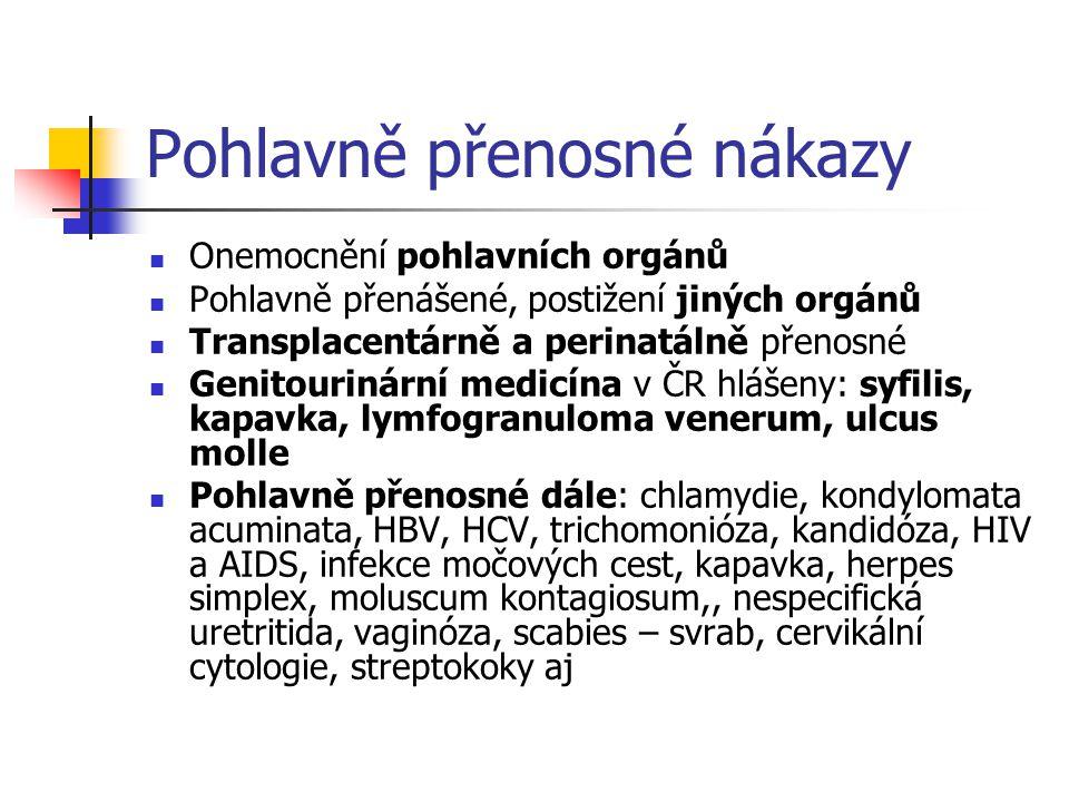 Pohlavně přenosné nákazy Onemocnění pohlavních orgánů Pohlavně přenášené, postižení jiných orgánů Transplacentárně a perinatálně přenosné Genitourinár