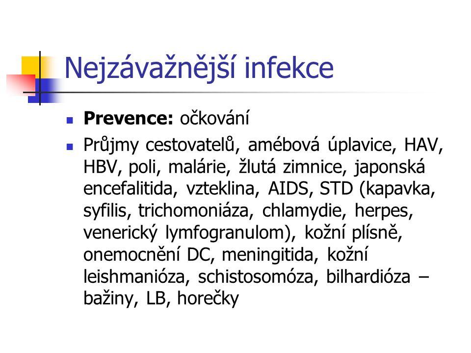 Nejzávažnější infekce Prevence: očkování Průjmy cestovatelů, amébová úplavice, HAV, HBV, poli, malárie, žlutá zimnice, japonská encefalitida, vzteklin