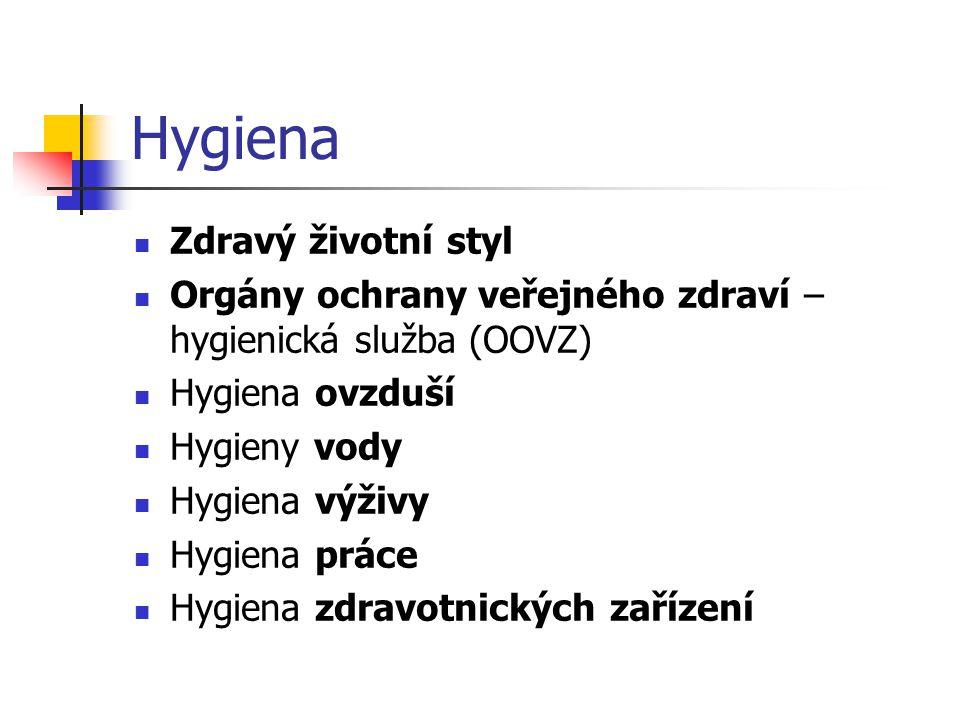 Zdravý životní styl Orgány ochrany veřejného zdraví – hygienická služba (OOVZ) Hygiena ovzduší Hygieny vody Hygiena výživy Hygiena práce Hygiena zdrav