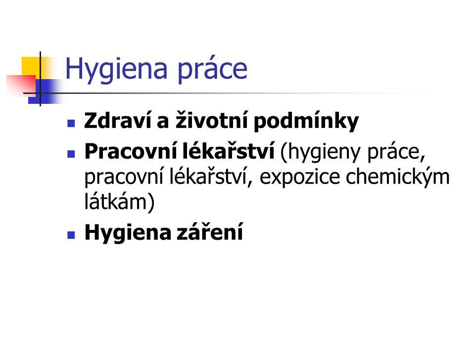 Hygiena práce Zdraví a životní podmínky Pracovní lékařství (hygieny práce, pracovní lékařství, expozice chemickým látkám) Hygiena záření