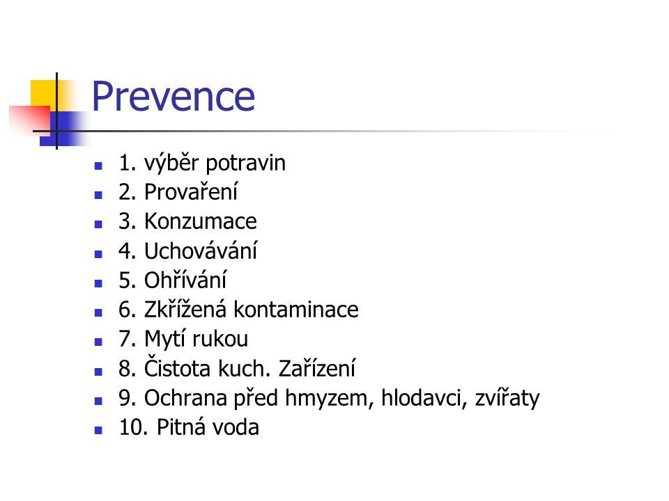 Prevence 1. výběr potravin 2. Provaření 3. Konzumace 4. Uchovávání 5. Ohřívání 6. Zkřížená kontaminace 7. Mytí rukou 8. Čistota kuch. Zařízení 9. Ochr