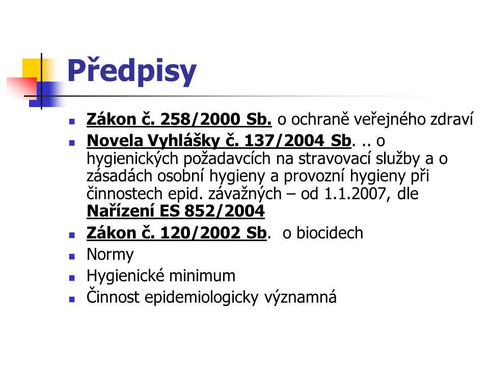 Předpisy Zákon č. 258/2000 Sb. o ochraně veřejného zdraví Novela Vyhlášky č. 137/2004 Sb... o hygienických požadavcích na stravovací služby a o zásadá