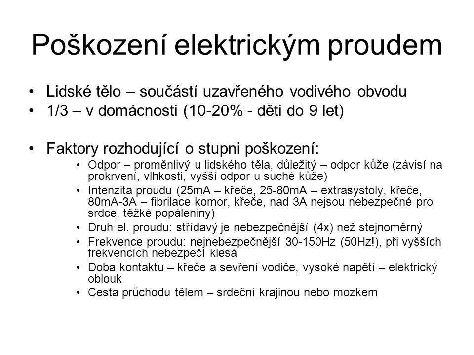 Poškození elektrickým proudem Lidské tělo – součástí uzavřeného vodivého obvodu 1/3 – v domácnosti (10-20% - děti do 9 let) Faktory rozhodující o stup