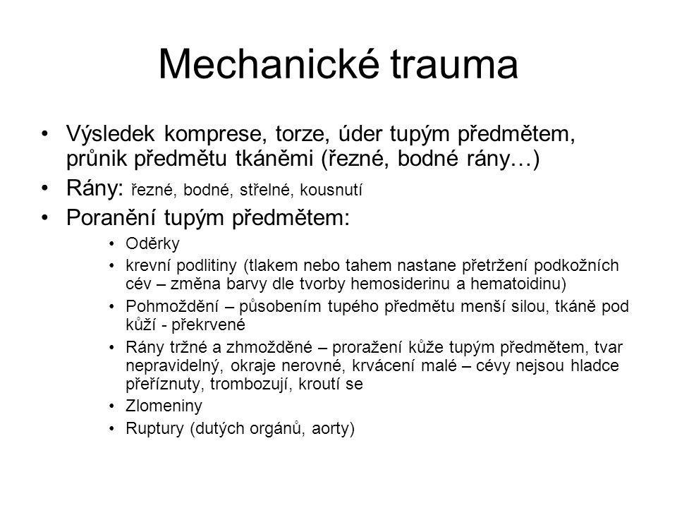 Mechanické trauma Výsledek komprese, torze, úder tupým předmětem, průnik předmětu tkáněmi (řezné, bodné rány…) Rány: řezné, bodné, střelné, kousnutí P