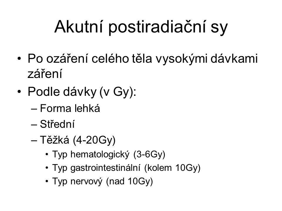 Akutní postiradiační sy Po ozáření celého těla vysokými dávkami záření Podle dávky (v Gy): –Forma lehká –Střední –Těžká (4-20Gy) Typ hematologický (3-
