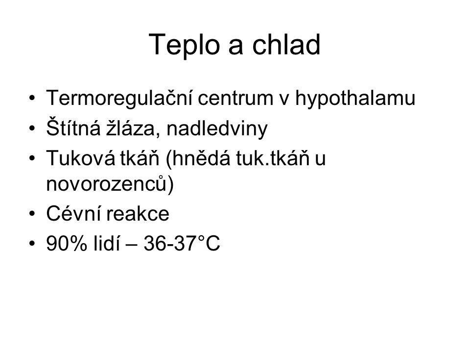 Teplo a chlad Termoregulační centrum v hypothalamu Štítná žláza, nadledviny Tuková tkáň (hnědá tuk.tkáň u novorozenců) Cévní reakce 90% lidí – 36-37°C